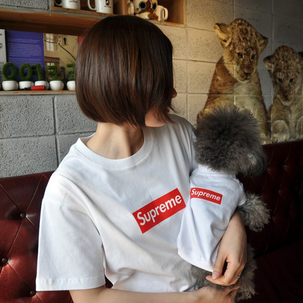 シュプリーム ボックスロゴtシャツ 犬服 パロディ